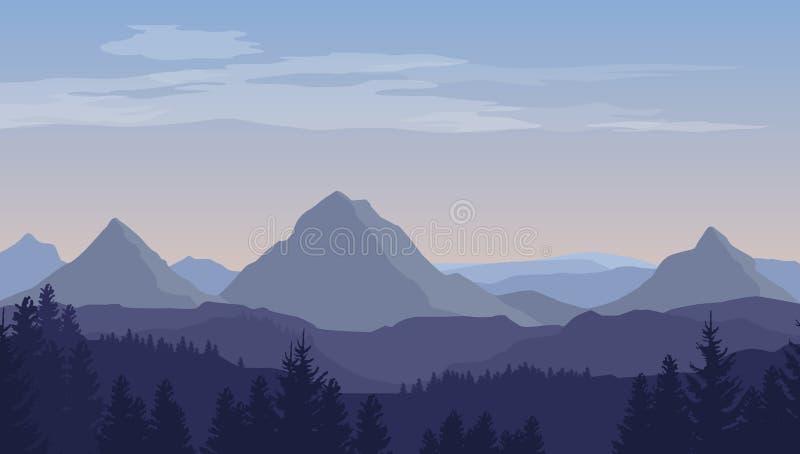 Paisagem azul dos desenhos animados do vetor com as silhuetas das montanhas, dos montes e das árvores ilustração stock