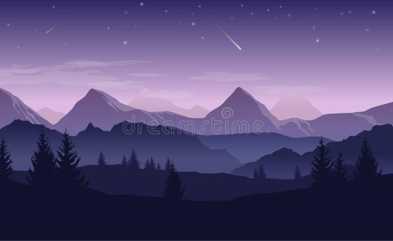 Paisagem azul e roxa com as silhuetas das montanhas, montes a ilustração do vetor