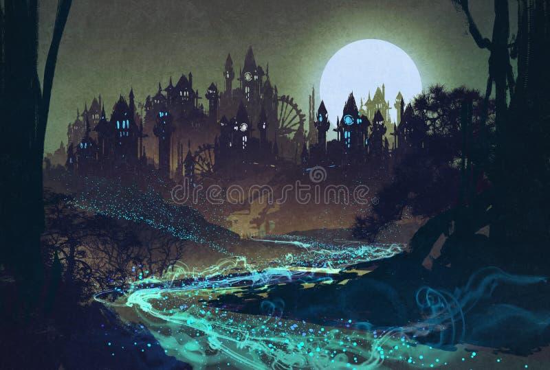 Paisagem bonita com rio misterioso, Lua cheia sobre castelos ilustração stock