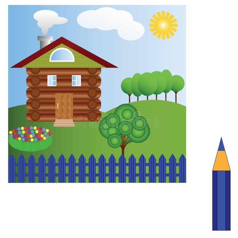 Paisagem bonita com um bom alojamento dos logs com uma cama de flores multi-coloridas, de árvores verdes, do sol, de nuvens e do  ilustração royalty free