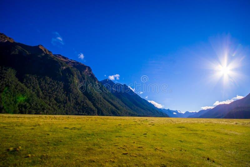 Paisagem bonita da geleira da montanha alta em Milford Sound com uma luz do sol no céu, na ilha sul em Nova Zelândia imagem de stock
