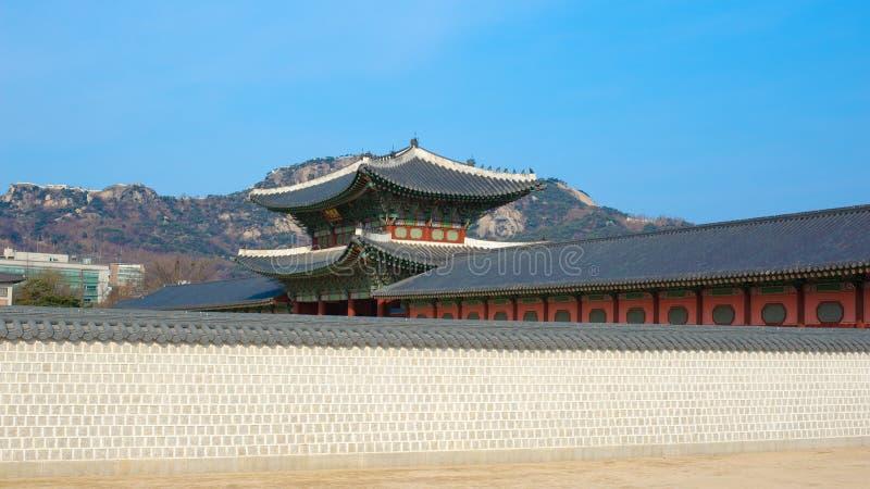 Paisagem bonita da História de Coreia do palácio de Kyongbok fotografia de stock