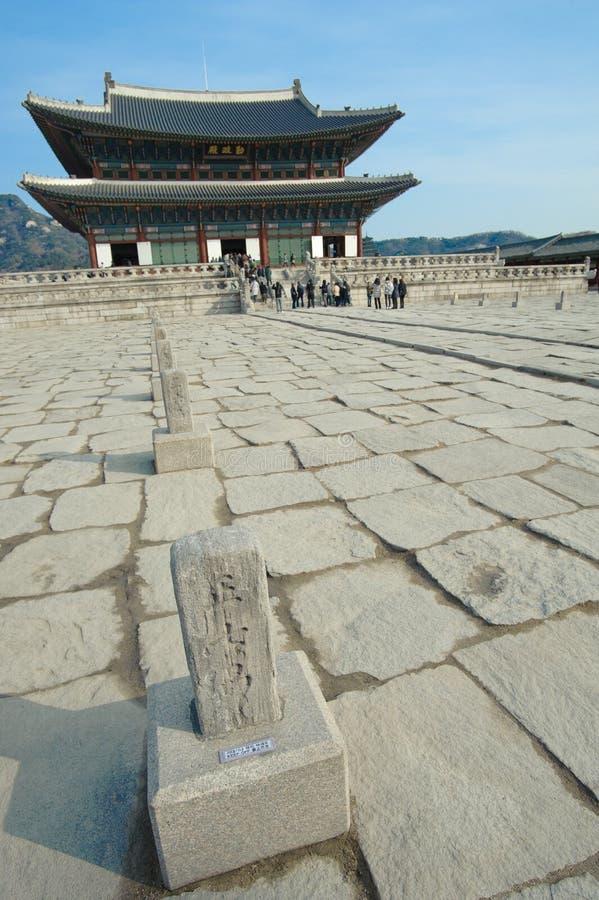 Paisagem bonita da História de Coreia do palácio de Kyongbok foto de stock