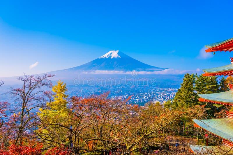 Paisagem bonita da montanha fuji em torno da árvore da folha de bordo na estação do outono imagem de stock royalty free