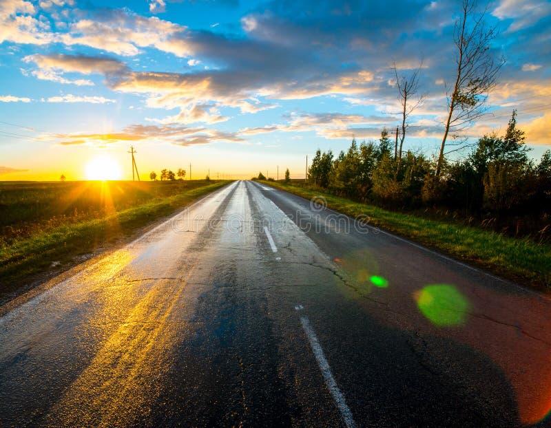Paisagem bonita da natureza Estrada asfaltada molhada após a chuva no por do sol imagens de stock
