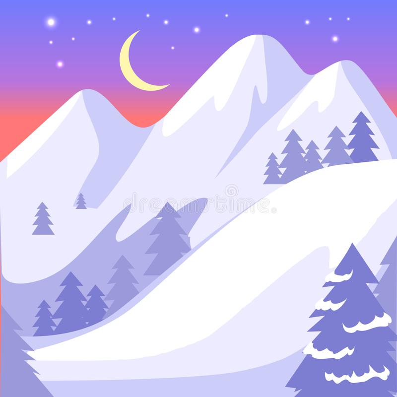 Paisagem bonita de montanhas altas de Snowy White ilustração royalty free