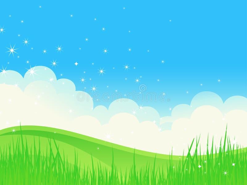 Paisagem bonita do brilho do verão. ilustração royalty free