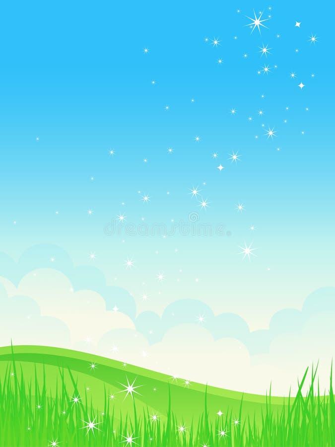 Paisagem bonita do brilho do verão. ilustração stock