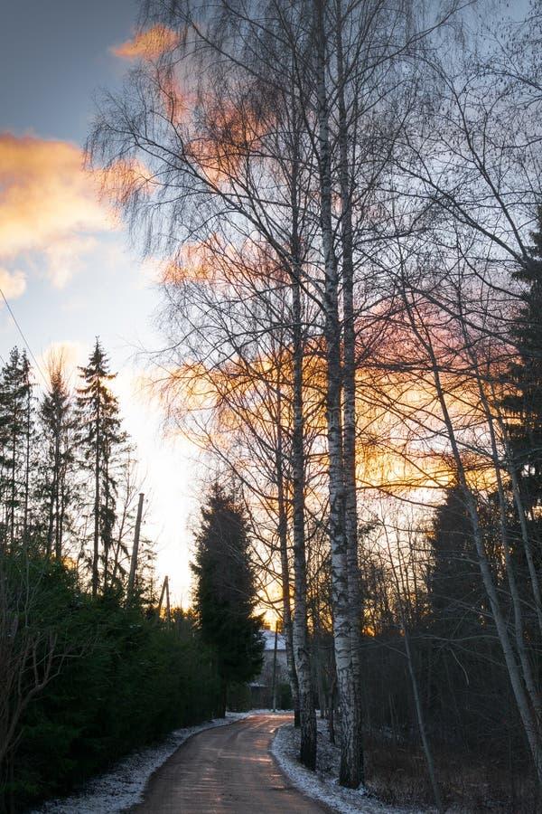 paisagem bonita do inverno com a estrada ao por do sol Estrada má suja fotografia de stock royalty free