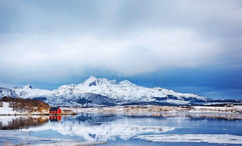Paisagem bonita do inverno do rorbu vermelho pitoresco nas ilhas de Lofoten imagem de stock royalty free