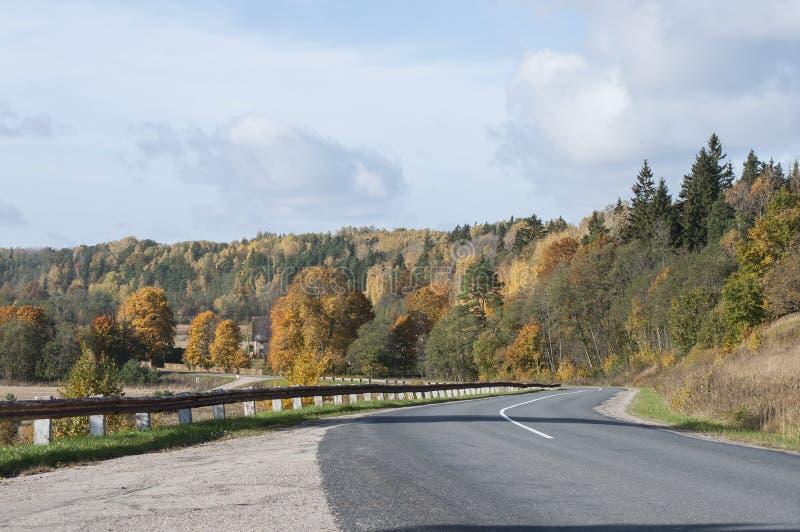 Paisagem bonita do outono com árvores e a estrada coloridas para baixo foto de stock