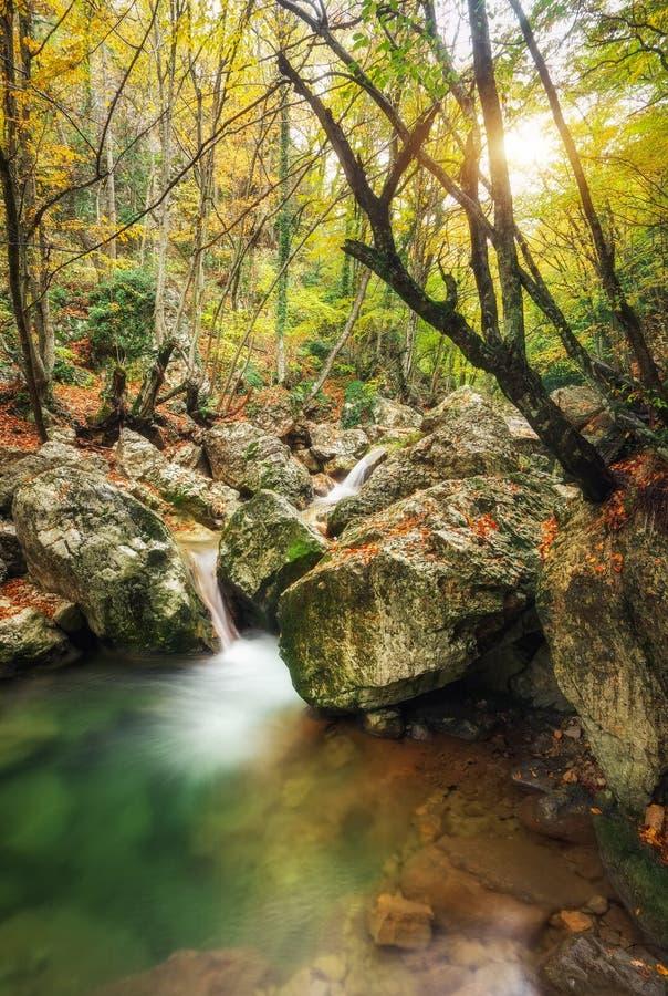 Paisagem bonita do outono com rio da montanha foto de stock