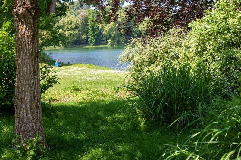 Paisagem bonita do parque Nas profundidades do parque na costa do lago você pode ver a silhueta de um homem imagem de stock