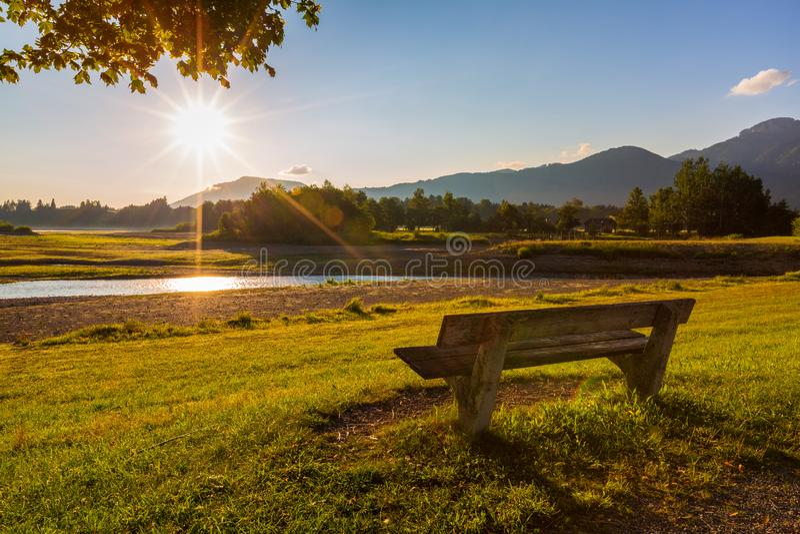 Paisagem bonita do verão na manhã ensolarada com o banco no primeiro plano fotos de stock