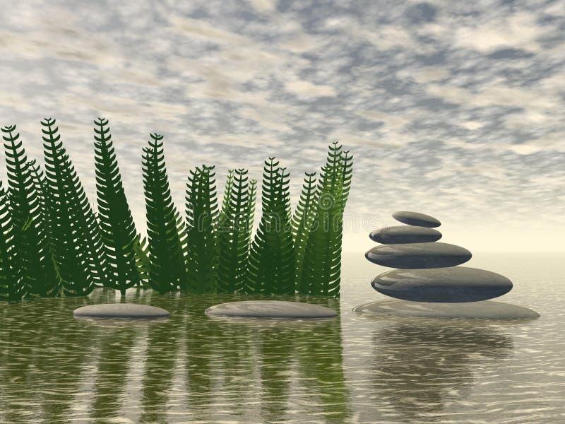 Paisagem bonita do zen - rendição 3D ilustração do vetor