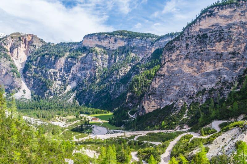 Paisagem bonita nas dolomites, Fanes-Sennes-Prags da montanha, Itália fotos de stock royalty free