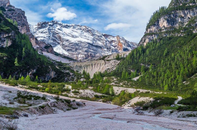 Paisagem bonita nas dolomites, Fanes-Sennes-Prags da montanha, Itália foto de stock royalty free