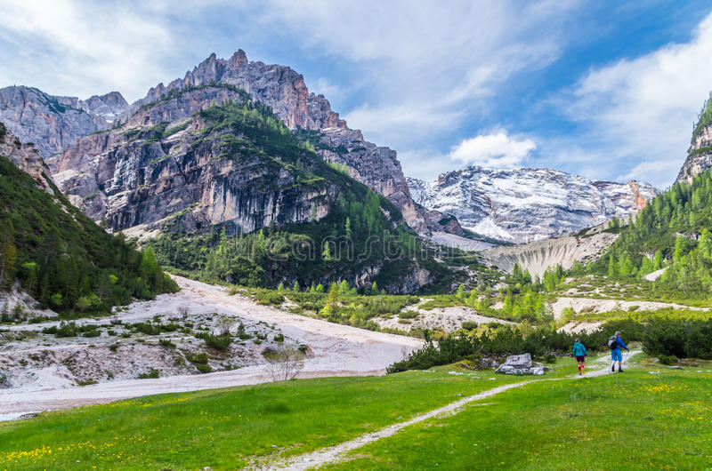 Paisagem bonita nas dolomites, Fanes-Sennes-Prags da montanha, Itália fotografia de stock