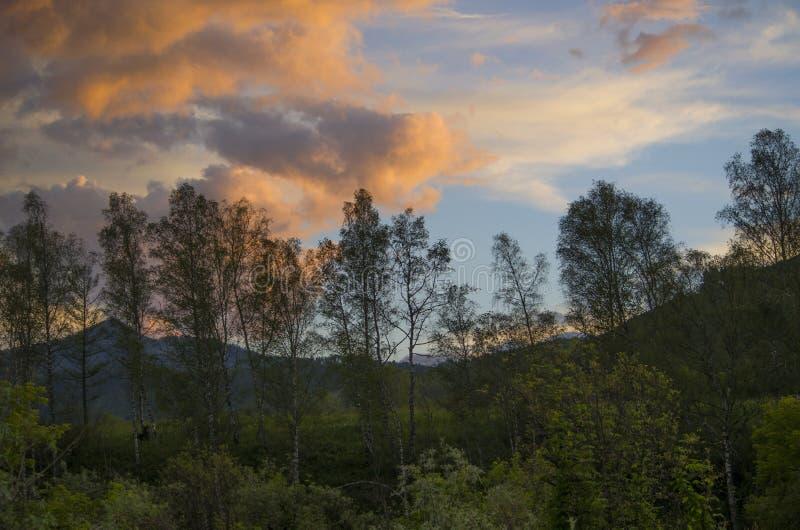 Paisagem bonita um por do sol nas montanhas imagens de stock