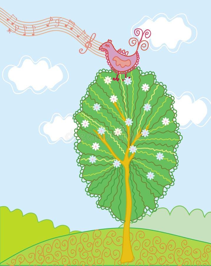 Paisagem bonito da mola com pássaro ilustração do vetor