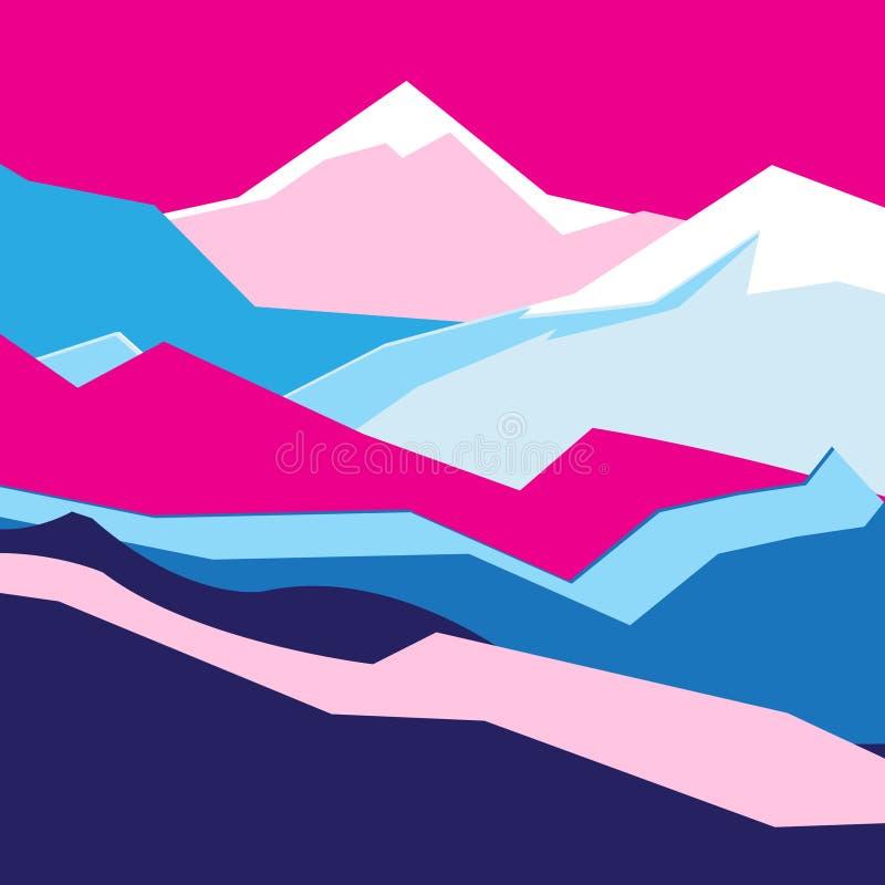Paisagem brilhante da cor do fundo do vetor com montanhas ilustração stock