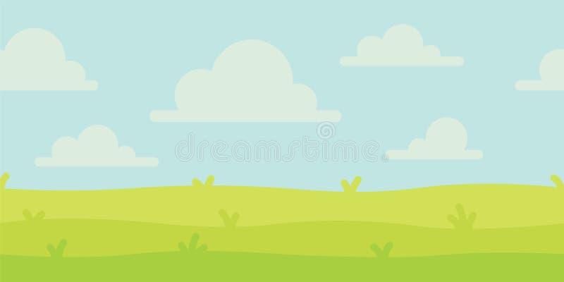 Paisagem brilhante da natureza com céu, montes e grama Cenário rural Campo e prado Ilustração do vetor em simples ilustração royalty free