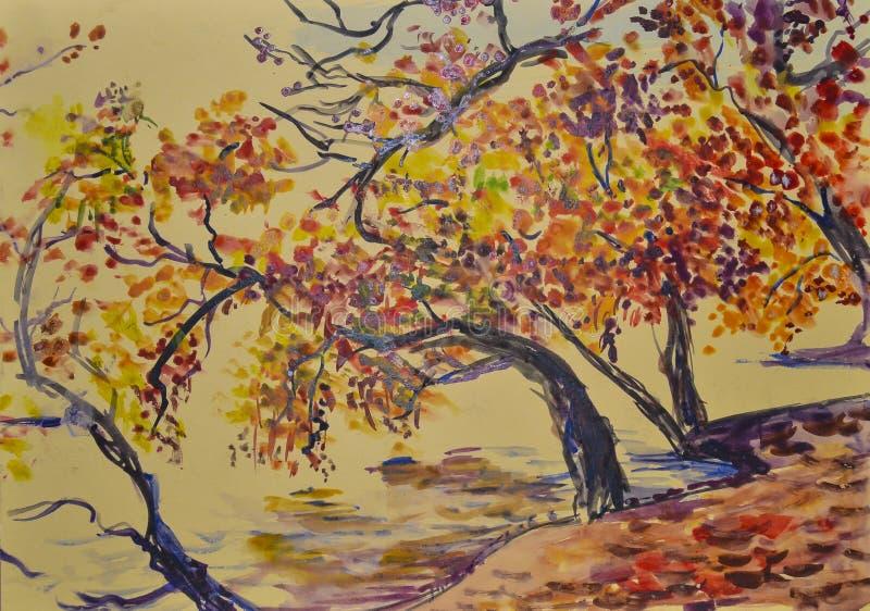 Paisagem cênico bonita delicada pintada do outono com aquarela imagens de stock royalty free
