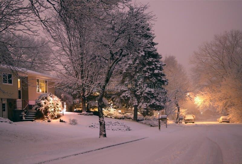 Paisagem cênico da noite do blizzard do inverno fotografia de stock