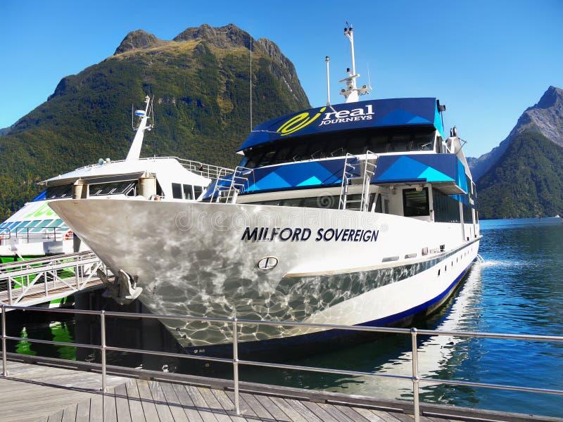 Paisagem cênico de Nova Zelândia, fiorde, cruzeiro de Milford Sound imagem de stock