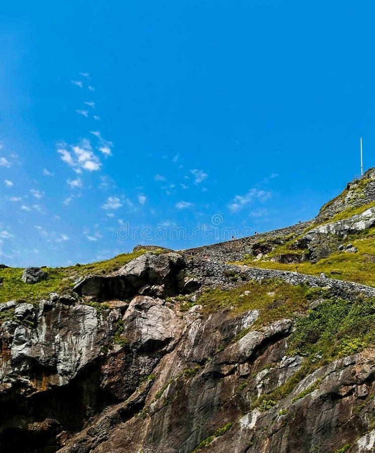 Paisagem cênico de San Juan de Gaztelugatxe, país Basque, Espanha fotografia de stock