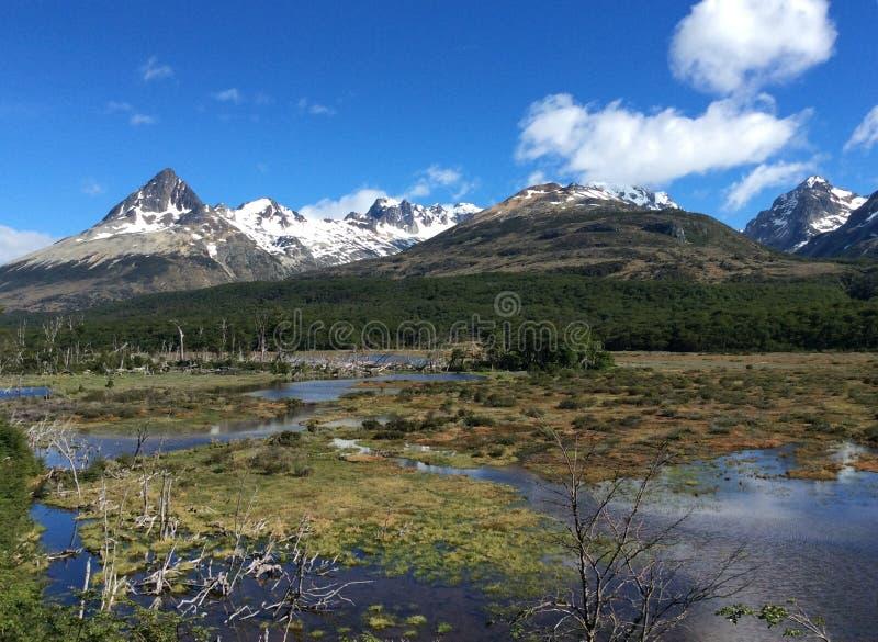 Paisagem cênico perto de Ushuaia, Tierra del Fuego, Argentina imagem de stock