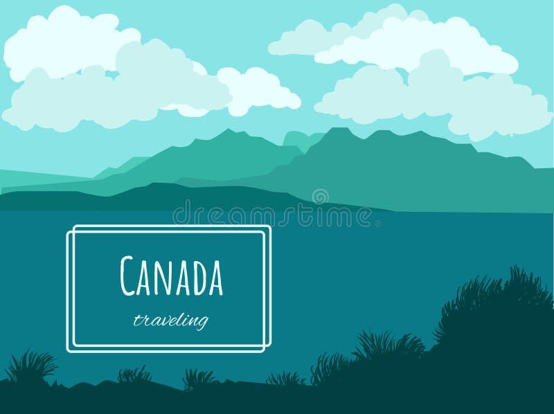 Paisagem canadense do vetor - efeito do paralaxe ilustração do vetor