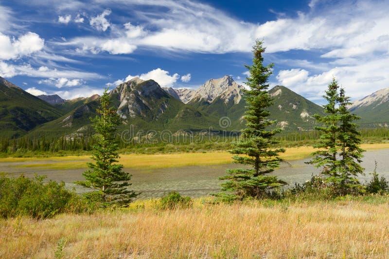 Paisagem canadense. Montanhas rochosas e céu nebuloso fotografia de stock royalty free