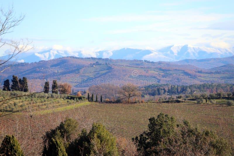 Paisagem característica de Toscânia no outono Os montes do Chianti ao sul de imagem de stock