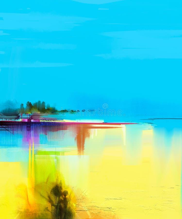 Paisagem colorida abstrata da pintura a óleo na lona imagem de stock royalty free