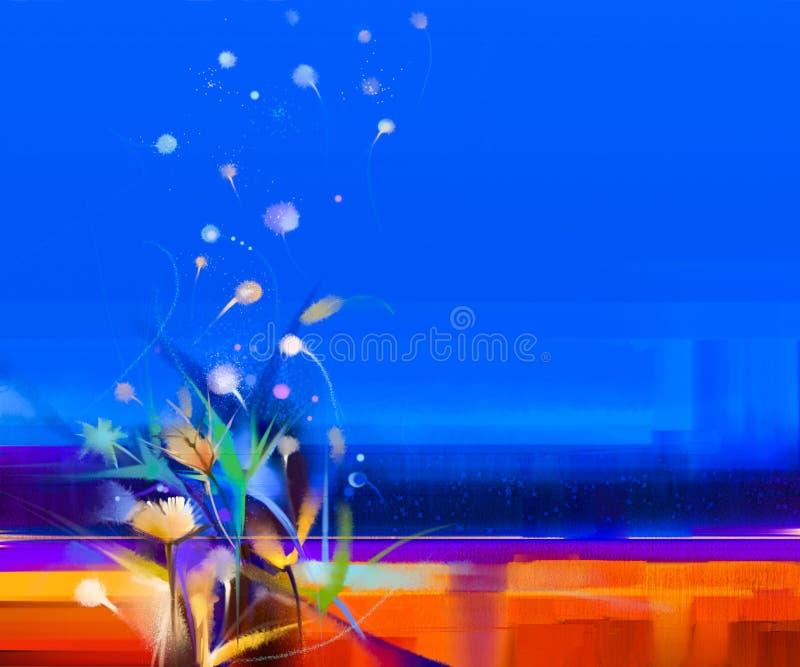 Paisagem colorida abstrata da pintura a óleo na lona ilustração do vetor