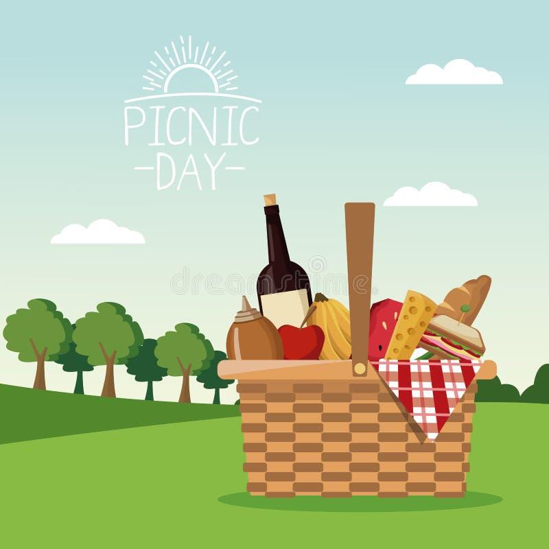 Paisagem colorida da cena do cartaz do dia do piquenique e cesta completamente do alimento ilustração do vetor