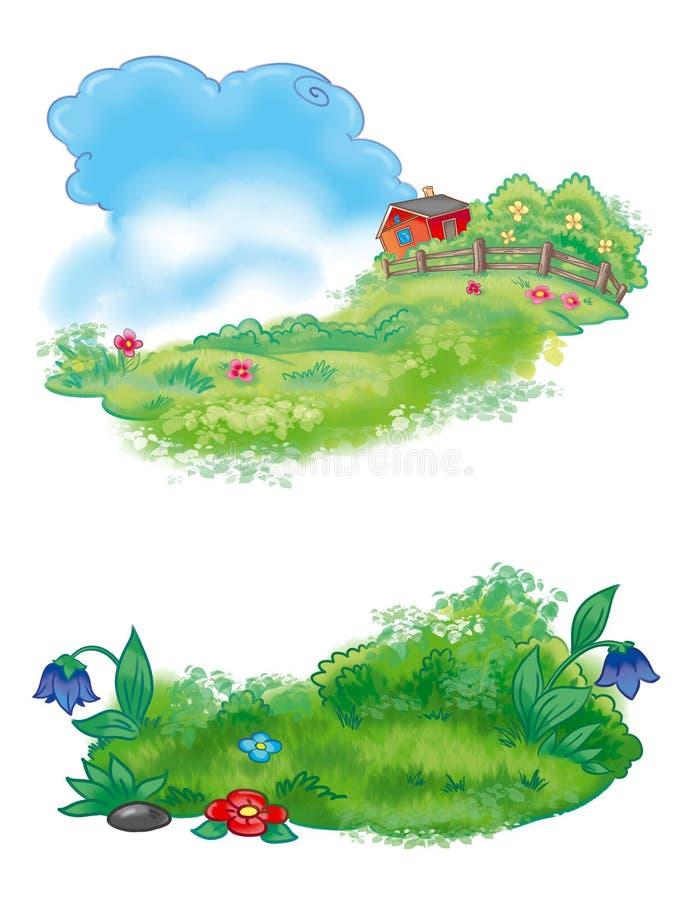 Paisagem colorida decorativa da opinião da exploração agrícola ilustração stock
