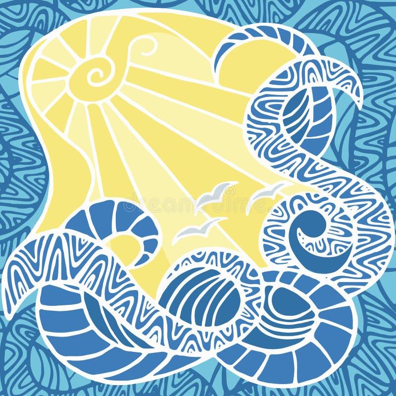 Paisagem colorida do mar ilustração do vetor