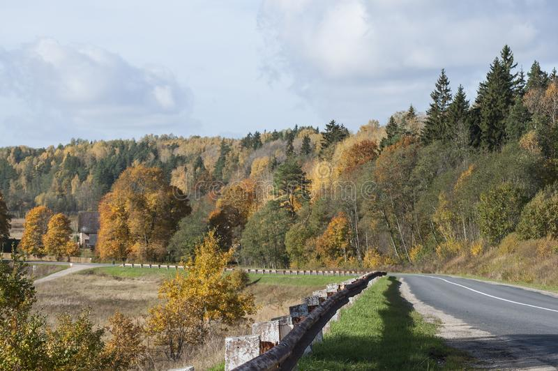 Paisagem colorida do outono com árvores e a estrada coloridas para baixo imagens de stock