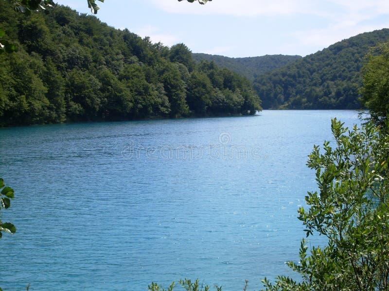 Paisagem colorida e vibrante da costa do lago Paisagem tranquilo útil como o fundo Abaixe a garganta dos lagos Lagos Plitvice nac fotos de stock