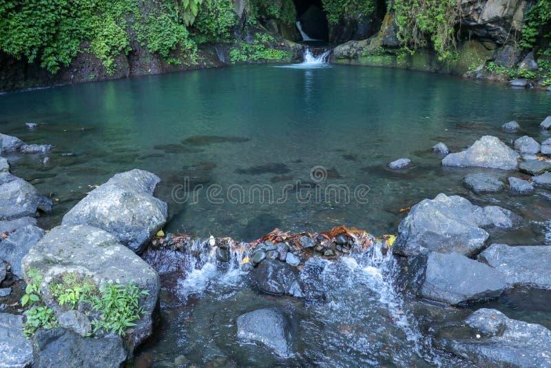 Paisagem com água turquesa fluindo da cascata de laguna azul na floresta tropical foto de stock