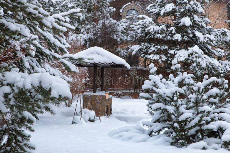 Paisagem com área do assado, snowbanks da neve branca, pinheiros no jardim do país fotos de stock royalty free