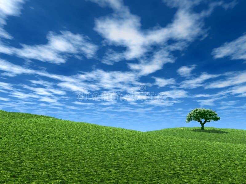 Paisagem com árvore só ilustração royalty free