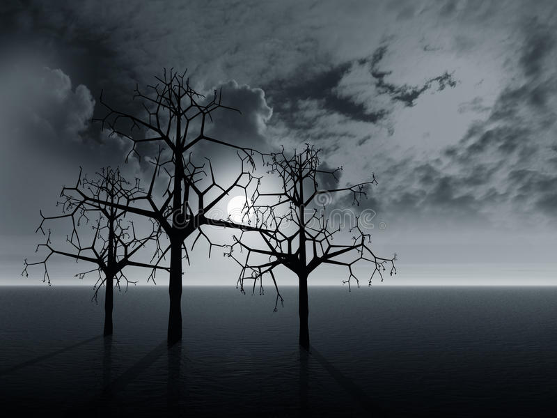 Paisagem com árvores ilustração do vetor