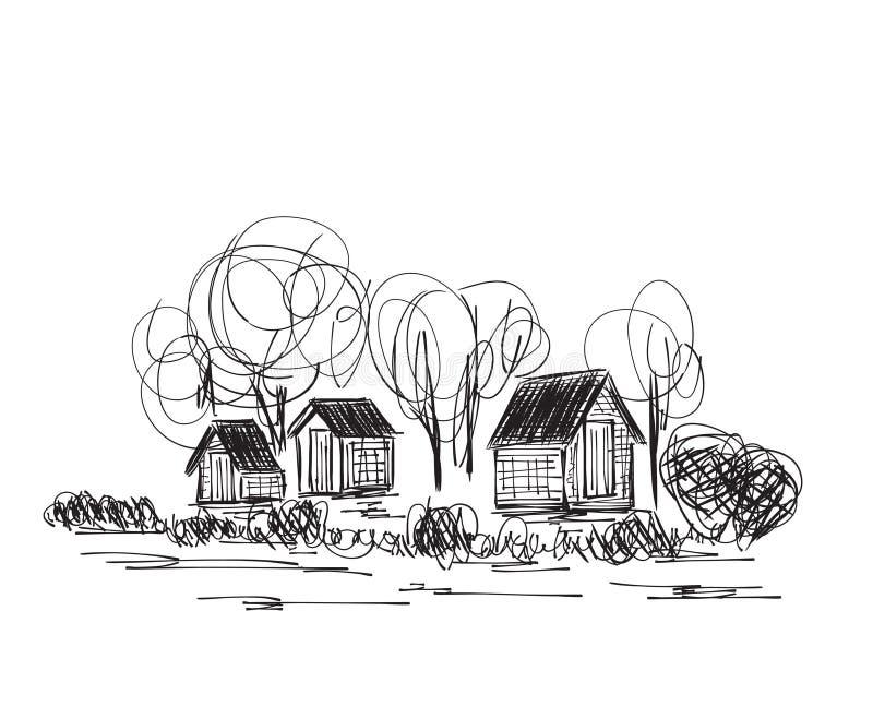 Paisagem com árvores e casa da vila ilustração royalty free