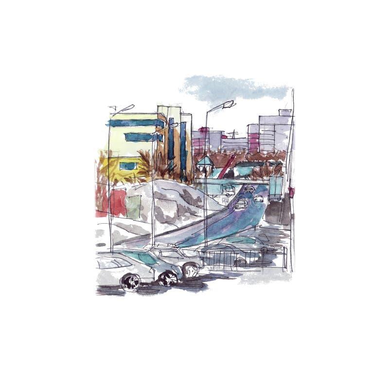 Paisagem com as construções, caras, esboço urbano da cidade da aquarela dos carros ilustração do vetor