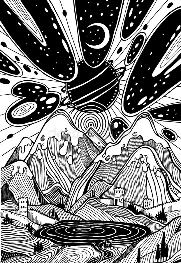 Paisagem com as montanhas sob a greve do meteoro ilustração stock