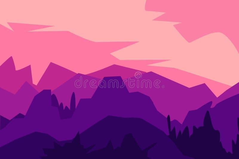 Paisagem com as silhuetas das montanhas, dos montes e da floresta ilustração stock