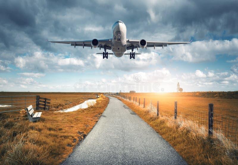 A paisagem com avião do passageiro está voando sobre o asfalto roa fotografia de stock royalty free